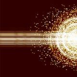 Tarjeta de oro del rayo de la explosión Foto de archivo libre de regalías