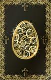 Tarjeta de oro feliz del huevo de Pascua, vector Foto de archivo libre de regalías