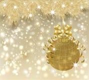 Tarjeta de oro de la Feliz Navidad del invierno, vector ilustración del vector