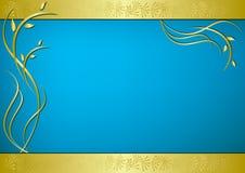 Tarjeta de oro y azul con la flora Foto de archivo