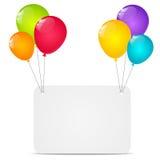 Tarjeta de papel con los globos stock de ilustración