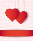 Tarjeta de papel de dos corazones Fotografía de archivo libre de regalías