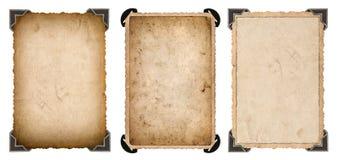 Tarjeta de papel de la foto vieja con el marco del vintage de la esquina y de los bordes Imagenes de archivo