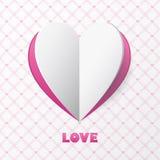 Tarjeta de papel del amor del corazón. Plantilla para la tarjeta de felicitación del diseño, weddin Fotografía de archivo libre de regalías
