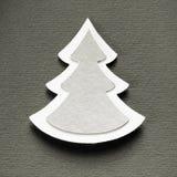 Tarjeta de papel del monocromo del vintage del diseño del corte del árbol de navidad Imágenes de archivo libres de regalías
