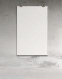 Tarjeta de papel en blanco 3d en la pared de la composición Fotos de archivo