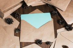 Tarjeta de papel en blanco de azules turquesa Fotografía de archivo libre de regalías