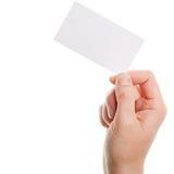 Tarjeta de papel en mano de la mujer Imagenes de archivo