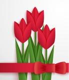Tarjeta de papel roja de los tulipanes Fotografía de archivo libre de regalías