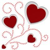 Tarjeta de papel roja del día de tarjetas del día de San Valentín de los corazones Imágenes de archivo libres de regalías