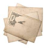 Tarjeta de papel vieja con el modelo adornado del vintage Fotos de archivo