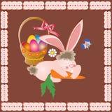 Tarjeta de pascua con el conejito libre illustration