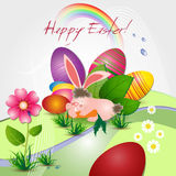 Tarjeta de pascua con el conejito y los huevos stock de ilustración