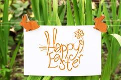 Tarjeta de pascua con el conejo Foto de archivo libre de regalías