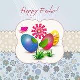 Tarjeta de pascua con la flor y los huevos stock de ilustración