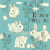 Tarjeta de pascua con los conejos Foto de archivo libre de regalías