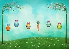 Tarjeta de pascua con los conejos y los huevos