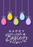 Tarjeta de pascua con los huevos del color ilustración del vector