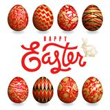 Tarjeta de pascua con los huevos de Pascua, el conejito de pascua y la inscripción Fotos de archivo