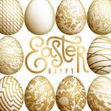 Tarjeta de pascua con los huevos y la inscripción realistas de Pascua Imagenes de archivo