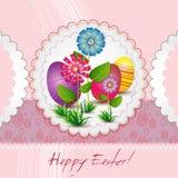 Tarjeta de pascua con los huevos y las flores coloreados Foto de archivo libre de regalías