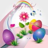 Tarjeta de pascua con los huevos y las flores coloreados Imágenes de archivo libres de regalías
