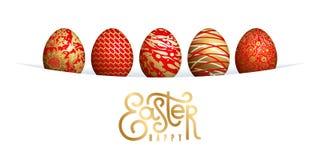 Tarjeta de pascua con los huevos y las letras de Pascua Foto de archivo libre de regalías