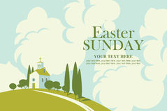 Tarjeta de pascua con paisaje con la iglesia libre illustration