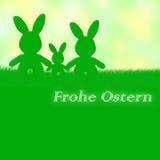 Tarjeta de pascua del alemán: Frohe Ostern (Pascua feliz) Fotos de archivo