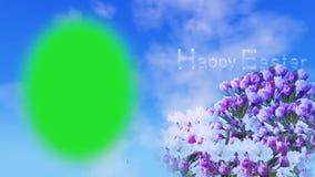Tarjeta de pascua feliz animada con el blosson de la primavera y el texto móvil