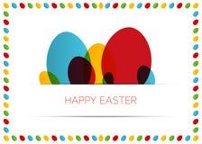 Tarjeta de pascua feliz (cartel) con los huevos coloridos Imágenes de archivo libres de regalías