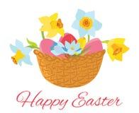 Tarjeta de pascua feliz, cesta con las flores y huevos Foto de archivo libre de regalías