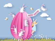 Tarjeta de pascua feliz con el conejito, la muchacha y el huevo Foto de archivo libre de regalías