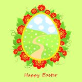 Tarjeta de pascua feliz con las flores Imagen de archivo libre de regalías