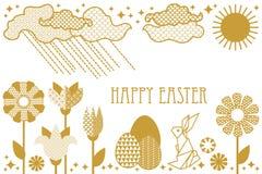 Tarjeta de pascua feliz con las liebres, las flores florecientes de la primavera, el arco iris, el sol, las nubes y los huevos ad Stock de ilustración