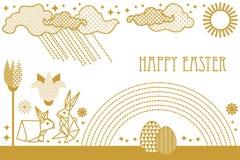 Tarjeta de pascua feliz con las liebres, las flores florecientes de la primavera, el arco iris, el sol, las nubes y los huevos ad Ilustración del Vector