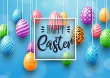 Tarjeta de pascua feliz con los huevos coloreados adornados en fondo azul stock de ilustración
