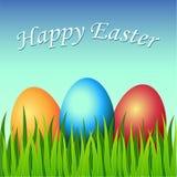 Tarjeta de pascua feliz con los huevos, hierba, flores libre illustration