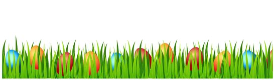 Tarjeta de pascua feliz con los huevos, hierba, flores ilustración del vector