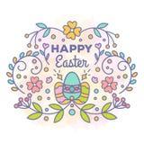 Tarjeta de pascua feliz Diseño floral con los huevos ilustración del vector