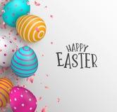 Tarjeta de pascua feliz de los huevos del color y de la flor de la primavera libre illustration