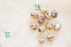 Tarjeta de pascua feliz todavía vida con los huevos de codornices en manteles de lino beige Día de fiesta de la primavera Decorac Foto de archivo