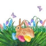 Tarjeta de pascua de la acuarela con las flores, el conejito, los huevos y la letra de la mano Elemento del dise?o para las tarje stock de ilustración