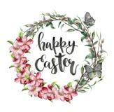 Tarjeta de pascua de la acuarela con la mariposa, las flores de la manzana y las letras Ejemplo pintado a mano con el sauce, rama ilustración del vector