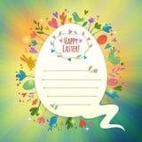 Tarjeta de pascua retra hermosa con símbolos de la primavera Fotos de archivo