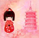 Tarjeta de personaje de dibujos animados de la muñeca de Kokeshi Fotos de archivo