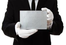 Tarjeta de plata en blanco con el espacio de la copia foto de archivo
