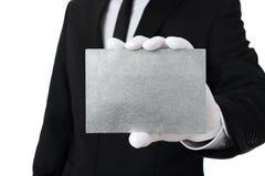 Tarjeta de plata en blanco con el espacio de la copia imágenes de archivo libres de regalías