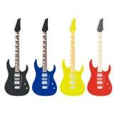 Tarjeta de publicidad con diversa silueta de la guitarra cuatro Stock de ilustración