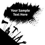 Tarjeta de publicidad con diversas herramientas Fotos de archivo
